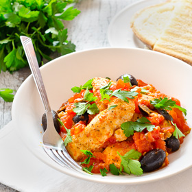 Chicken Breast in Tomato and Olive Sauce