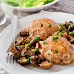 Chicken Thighs with Mushrooms Pancetta and Peas