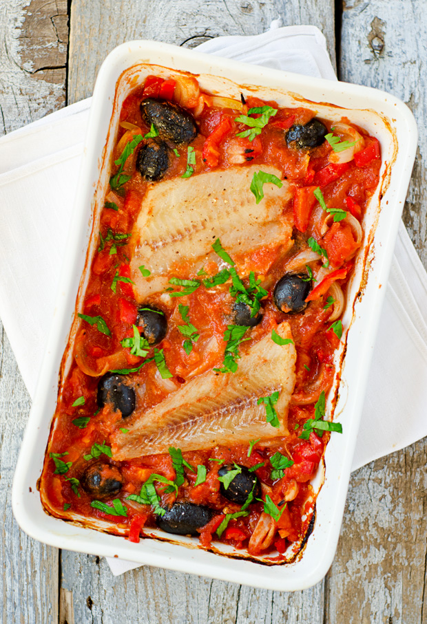 Alaska Cod with Tomatoes, Red Peppers and Olives