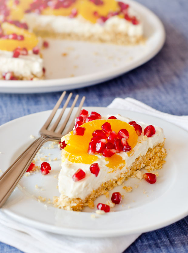 No-Bake Orange and Pomegranate Cheesecake