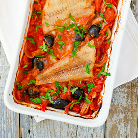 Alaska Cod with Tomato, Red Peppers and Black Olives