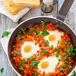 Poached Eggs in Tomato and Red Bell Pepper Sauce