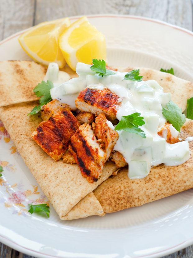 Spicy Chicken with Cucumber Yogurt