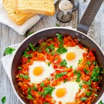 Poached Eggs in Tomato and Red Pepper Sauce