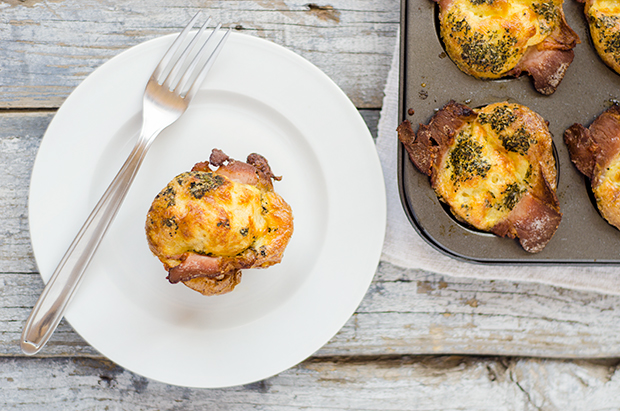 Muffin Tin Baked Eggs with Mozzarella, Bacon and Mediterranean Herbs