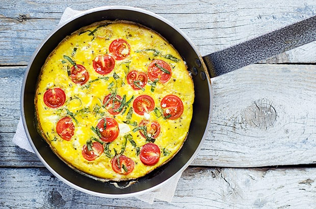 Cherry Tomatoes and Basil Frittata